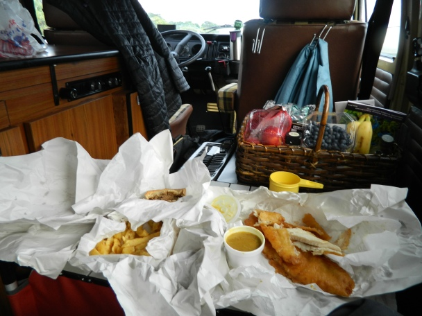 Fish and chips feast waiting for the ferry