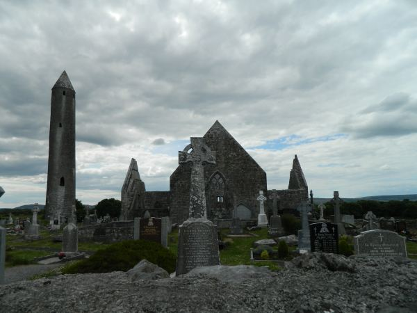 Unknown abbey and cemetery in the Irish countryside.