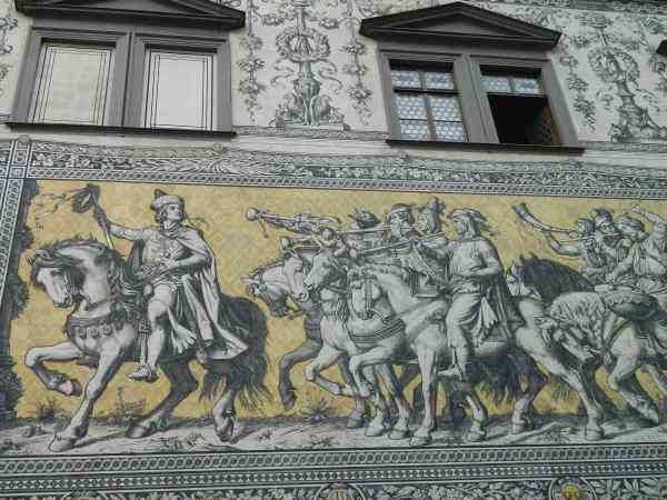 Close-up of the mural of royalty, made from tiny porcelain tiles.