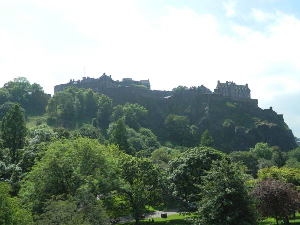Edinburgh Castle from city below