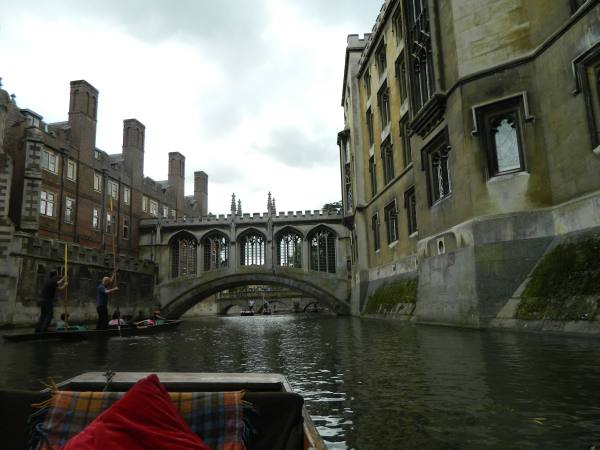 View from our rented punt.  Ahead is the Cambridge Bridge Sighs.  On the left is student housing and on the right is examination rooms. Hence the sighs.