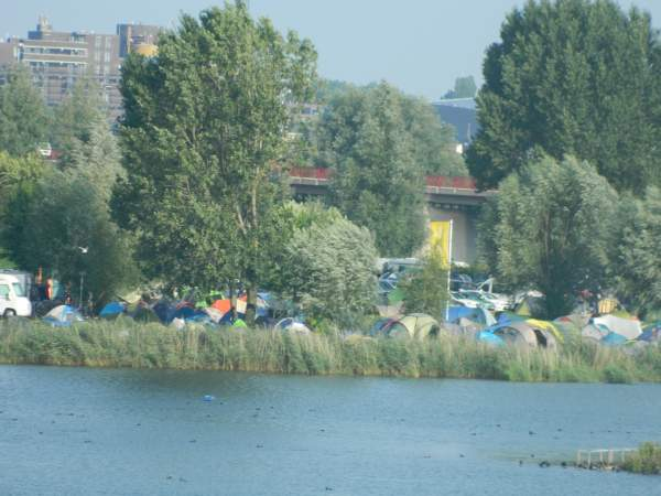 Camp site taken from across the river.  They say they hold 500 tents not counting motor home and trailer sites.  I believe it!