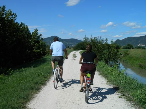 Enjoying on of Padua's many bicycle trails