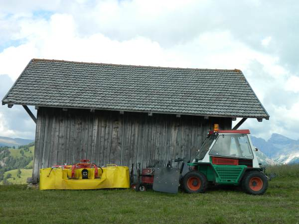 Small vehicle with hay rake