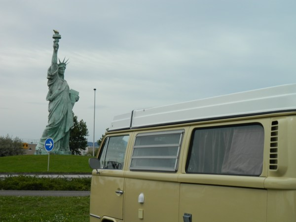 What the? Auguste Batholdi, designer of Statue of Liberty was born in the town of Colmar, this replica is in his honor.