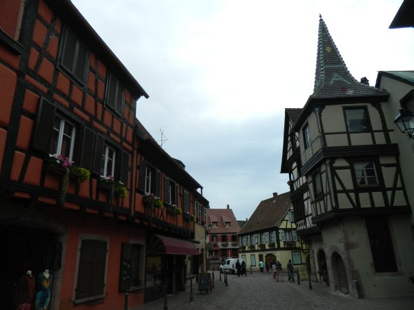 Alsace architecture, when the house were built the owners paid tax based on the square footage of the bottom floor.  Is it coincidence that the upper floors were larger?