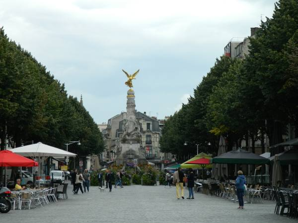 Reims town square.  Statue is a reproduction, the original was melted down by during the Nazi occupation.