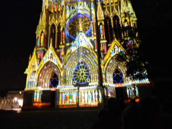 Reims Cathedral during the evening light show.