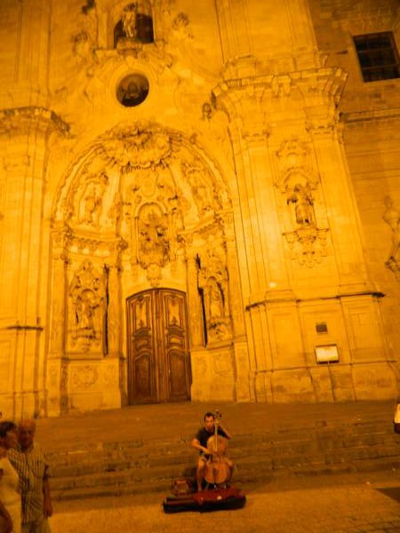 A nice evening topped off with a street performer and his cello at the base of the church.