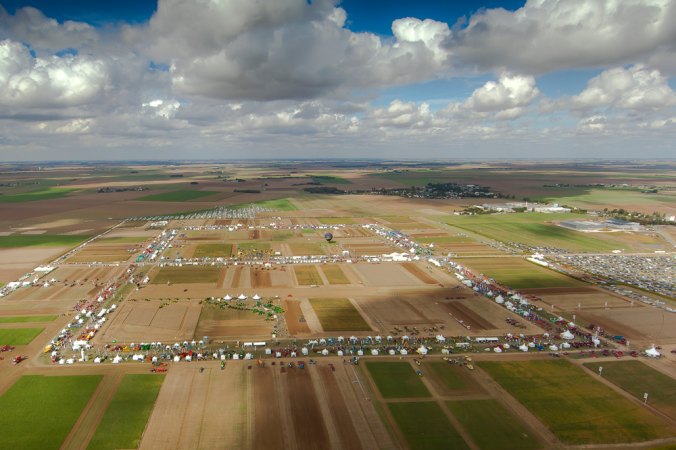 Areal view of the Innov-Agri show.  Notice the equipment lined up around large demonstration fields.