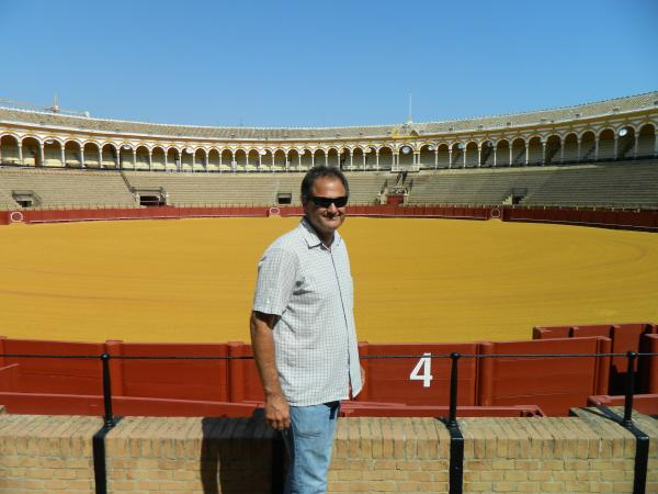 Bull fighting arena quiet on this sunny afternoon.