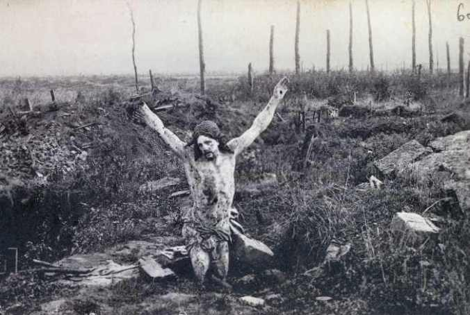 Website picture of the Christ of the Trenches Crucifix found in a war torn trench of France.